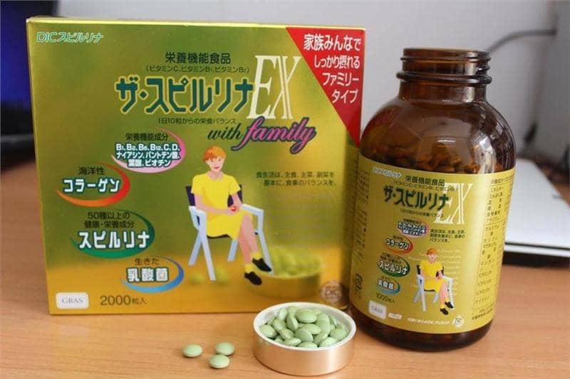 Thông tin cơ bản về tảo vàng EX Nhật Bản Spirulina 2000 viên